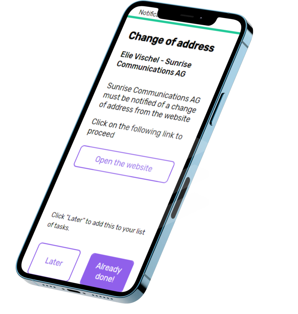 iphone - application - change of address - plan your move